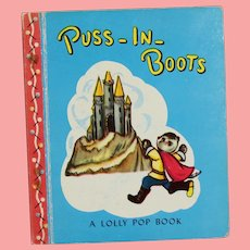 """Vintage 1949 Miniature Doll Sized Story Book """"Puss In Boots""""!"""