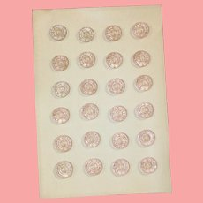 Antique Venetian Glass Pink Buttons on Card for Doll Sewing!