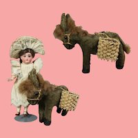 Darling Vintage 1940s Straw Stuffed Doll Sized Donkey!