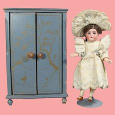 Lovely! Vintage Japan Painted Doll Armoire Cabinet Closet!
