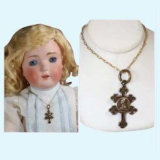 Vintage French Doll Necklace Joan of Arc Domremy