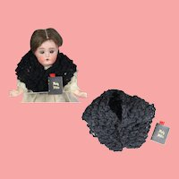 Vintage Black Crochet Shawl & Bible for Doll in Mourning