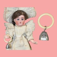 Darling Vintage Doll Sized Rattle Teething Bone Ring with Silver Bell!