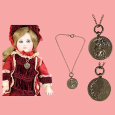 Beautiful Vintage French Fashion Doll Necklace Mother with Baby Contest!