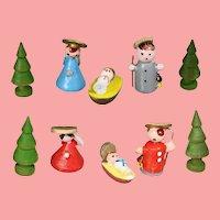Teensy Weensy Mini Doll Sized Dollhouse Nativity Italy Erzgebirge Like