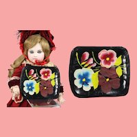 Darling Vintage 1940s Mini Doll Sized Painted Batea Tray from Mexico!
