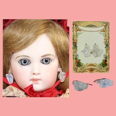 Gorgeous Antique French Fashion Doll Floral White Glass Earrings!