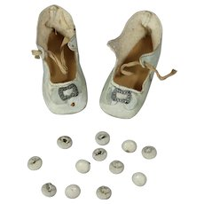 12 Antique White Shoe Buttons for Doll Shoes or Teddy Eyes!