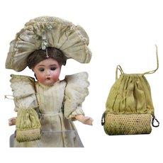 Tiny Antique Doll Purse Silk & Cross Stitch! Lovely!