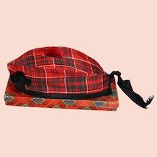 Vintage Scottish Child Tartan Hat Cap in Orig Box!