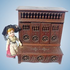 Antique French Doll Brittany Lit Clos Cupboard Bed & Blanket Chest Set!