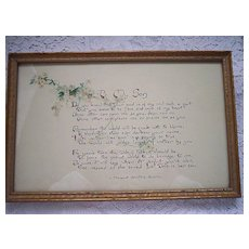"Vintage hand painted Motto Picture ~ ""To My Son"" poem, water color"