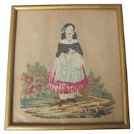 19th century Antique Needlework Picture ~ Girl with Doll ~ Victorian Folk Art Needlepoint on Paper Punch