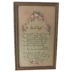 "Early 1900's Hand Painted Watercolor Roses Motto ~ ""Good Night"" Poem ~ Vintage Guest Room Wall Art"