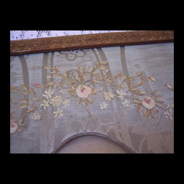 Large Antique Silk Ribbon Embroidery picture frame, French textiles, 1900 era, metallic thread