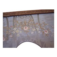 Large Antique Silk Ribbon Embroidery picture frame, French textiles, 1900 era, metallic thread