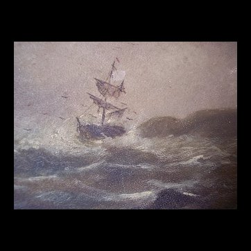 circa 1900 Nautical Ship Painting ~ Ocean Storm oil on board, antique, framed