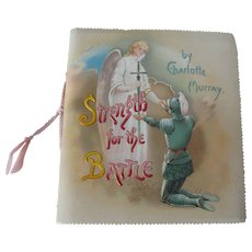 "1917 Antique Devotional Gift Booklet, Angel cover ~ ""Strength for the Battle"" ~ Scripture & Poetry by Charlotte Murray"