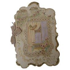 "Fine 1900 era Victorian Gift Booklet Poetry ~ ""Meadow-Song"", Frank Ferndale ~ Fancy Die-cut, Silk, color litho"