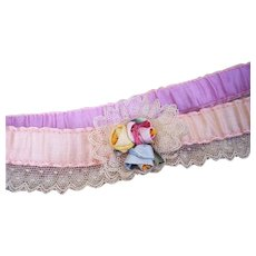 Vintage Flapper era 1920's Silk Ribbon Lingerie Garter ~ Ribbonwork Rose Applique & Lace Trim