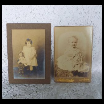 2 vintage photos ~ Girls and Dolls ~ children/toy photographs
