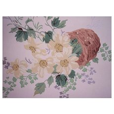 Vintage Roll FLORAL Wallpaper ~ flower basket pattern