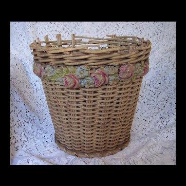 Vintage 1920's era Barbola Basket, Gesso Roses ~ all original, Planter, Old waste basket, Cottage Decor