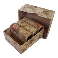 Vintage Early 1900's floral papered petite BOX with 3 Match Box BOOKS ~  for Doll House