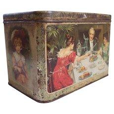 1890's era Old Tea Tin with Color Scenes ~ Large 3 lbs size MAZAWATTEE TEA ~ Ladies, Child