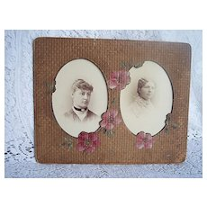 1890's Victorian Double Photo Frame ~ Cardboard & HP Roses