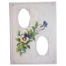 1890's Victorian Double Photo Mat Frame ~ Purple Pansy Flower
