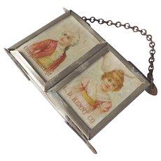 1890's Victorian era Miniature Triple Mirror ~ Doll House Mirror ~  C.D. Kenny Co. Advertising Sample