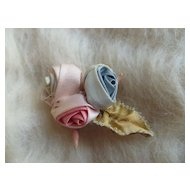 Vintage Ribbon Work Roses Sewing Trim Applique ~ Pastel Flowers
