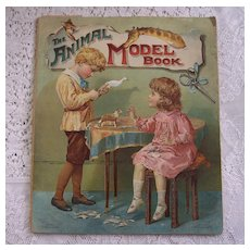 "Rare Children's 1901 Ernest Nister/E.P. Dutton ""The Animal Model Book"" ~ large paper craft, toy animals, color lithos"