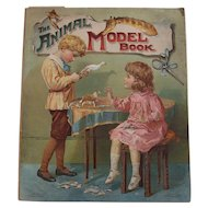 """Rare Children's 1901 Ernest Nister/E.P. Dutton """"The Animal Model Book"""" ~ large paper craft, toy animals, color lithos"""