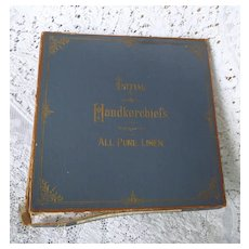 "1890's Victorian Ladies Handkerchiefs Hankie Monogram ""F"" in Original Box"