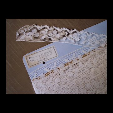Large original store display card ~ antique Lace ~ England, filet dress trimmings, lace, ivory color