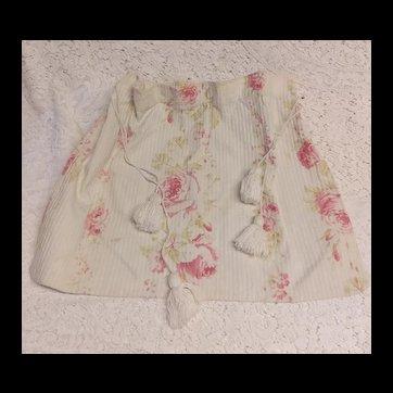 Vintage French Cretonne Fabric Drawstring Bag ~ Pink Roses ~ Floral sewing, what-not, lingerie, hankie bag Purse