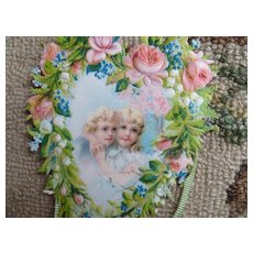 1900 era Hanging Ribbon Card Valentine ~ Cupid's Offering