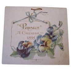 "1898 Prang & Co. Calendar ~ ""Pansies"" ~ color illustrations, lithograph, Floral paper ephemera"
