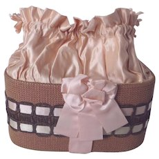 Rare 1880's Victorian Handmade Sewing Box Basket ~ Pink Silk, Ribbons, Metallic lace ~ Hand painted BEE