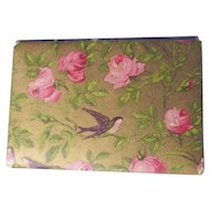 1900 era Vintage Needle Holder/Case ~ Pink Roses & Birds ~ England, Sewing Needle Book