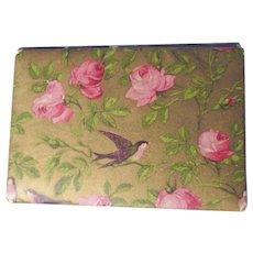1900 era Vintage Needle Holder/Case ~ Pink Roses & Birds ~ England, Sewing Needle Book