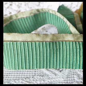 Rare 1920's French Silk Gathering Ribbon ~ Ribbon Work & Sewing ~ Jade Green w/ Gold Metallic Threads