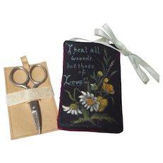 1890's Victorian Velvet Scissor Case ~ Handmade Sewing Whimsy ~ Hand painted flowers