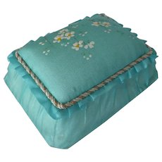 Vintage Sewing Box with Pincushion Lid ~ Blue Silk Hand Painted Lid