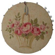 Vintage Sewing Pin Wheel Needle Holder ~ French Cretonne Fabric, Roses & Flower Basket