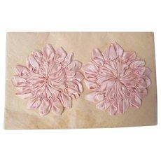 Vintage Ribbon Rosettes, Pink Sewing Trims, Handmade original Card