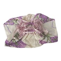 Early 1900 era What-Not Drawstring Floral Bag ~ Floral Purple Iris ~ Silk Ribbon, Feather Stitching