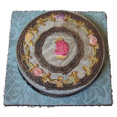 Early 1900's vintage French Textile Vanity Powder Trinket Box, metallic lace and silk ribbon work, Fine condition